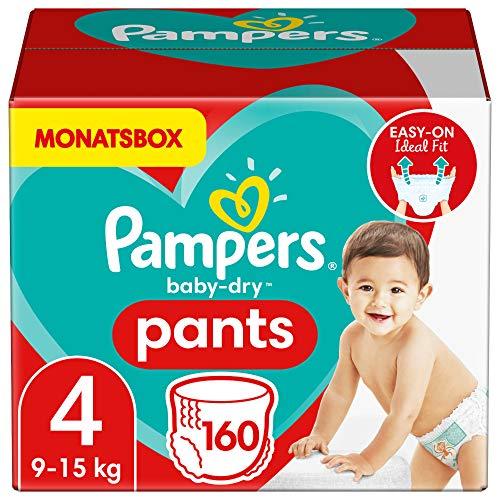 Pampers Windeln Pants Größe 4 (9-15kg) Baby Dry, 160 Höschenwindeln, MONATSBOX, Einfaches An- und Ausziehen, Zuverlässige Trockenheit