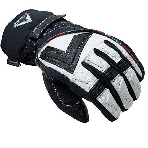ATTONO Skihandschuhe V01 Ski Snowboard 3 in1 Leder Handschuhe mit Innenhandschuh (XXL)