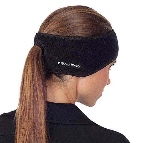 TrailHeads Pferdeschwanz-Stirnband für Damen | Ohrenwärmer aus Vlies | Stirnband für Winterläufe - schwarz/schwarz