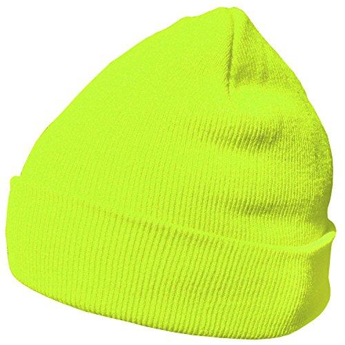 DonDon Wintermütze Mütze warm klassisches Design modern und weich neongelb