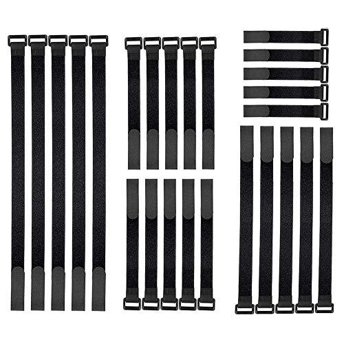 Klettverschluss,Klett Kabelbinder, 25 Stücke Kabelbinder Klettverschluss, 4 verschiedene Längen,Wiederverwendbare Kabelbinder