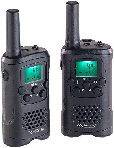 simvalley communications Walki Talki: 2er-Set PMR-Funkgeräte mit VOX, bis 10 km Reichweite, LED-Taschenlampe (VOX Funktion Walkie Talkie)