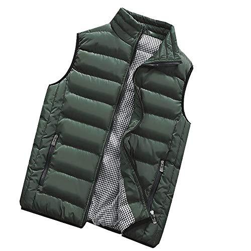 Ashui Herren Daunen Weste Gepolsterte Weste Wasserbeständig Warm Leichte Jacke mit Zwei Fronttaschen Steppweste Outdoor Weste mit Stehkragen Wasserdicht Daunenweste