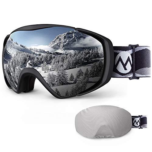 OutdoorMaster Unisex Premium Skibrille mit Hülle, Snowboardbrille, Schneebrille, 100% UV-Schutz, Antibeschlag Skibrille für Damen Herren Jungen und Mädchen