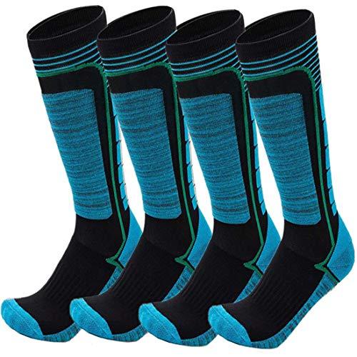 FINGER TEN 2Paar Skisocken Skistrumpf Sportsocken Baumwolle Socken Herren Damen Kinder Mädchen Jungen Verdicken Für Wintersport Snowboard Geschenk Größe 31-43 (Blau, L(39-43)) …