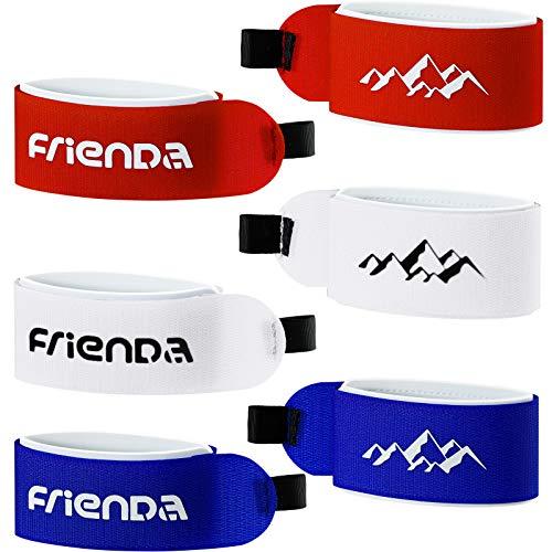 6 Stücke Ski Tragegurt Verschlussband Klettband Verstellbare Ski Verpacken Krawatten für Familien Weihnachten (Blau, Rot, Weiß)