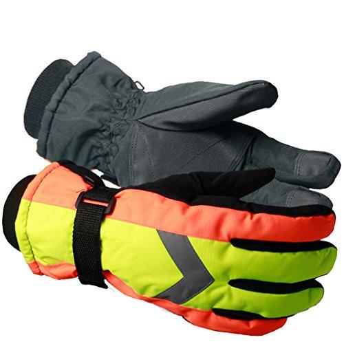 emansmoer Unisex Wasserdicht Outdoor Skifahren Snowboarden Schneemobil Handschuhe Wintersport Baumwolle gepolstert Handschuhe (One Size, Gelb163)