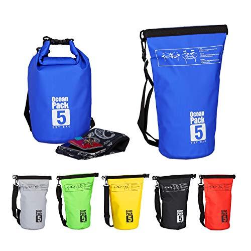 Relaxdays Ocean Pack, 5L, wasserdicht, Packsack, leichter Dry Bag, Kajak, Trockentasche, Segeln, Ski, Snowboarden, blau