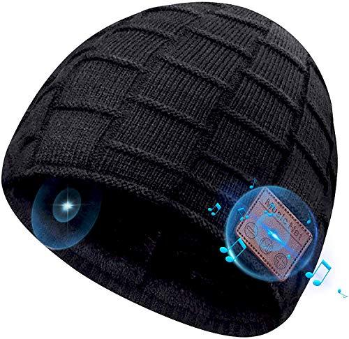 COTOP Geschenk für Weihnachten Bluetooth Mütze Musik Strickmütze Wintermütze Warme Winter Mützen Beanie Hut mit Samt für Laufen, Draussen, Radfahren, Ski, Joggen Mützen für Damen und Herren (Schwarz)
