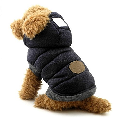SELMAI Winterjacken & wintermäntel für Hunde kleine Kapuzenpullis Hundemantel Winter Haustierkleidung für Katzen hündchen dackel Chihuahua Gehen im Freien Kältebeständig Blau M