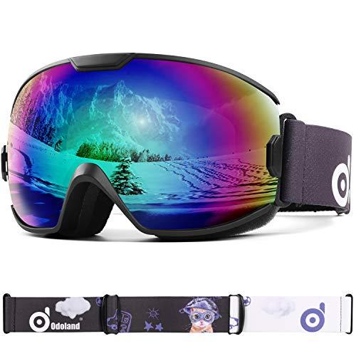 Odoland Skibrille Kinder Snowboardbrille für brillenträger Helmkompatible mit 100% UV-Schutz und OTG Anti-Beschlage für Jungen und Mädchen zum Skifahren und Bergsteigen VLT 18%