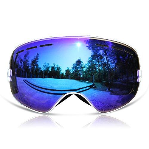 GANZTON Skibrille Snowboard Brille Doppel-Objektiv UV-Schutz Anti-Fog Skibrille Für Damen Und Herren Jungen Und Mädchen Weiß