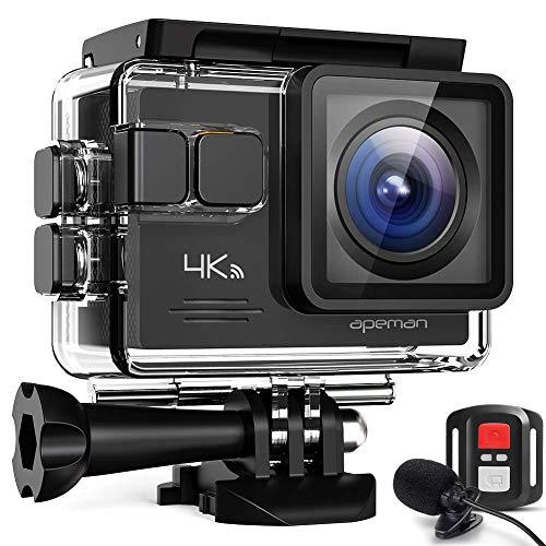 APEMAN Action Cam A79, 4K WiFi 20MP Unterwasserkamera Digitale wasserdichte 40M Helmkamera (2.4G Fernbedienung und externes Mikrofon)