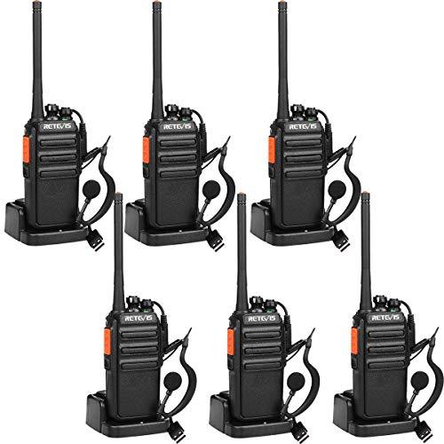 Retevis RT24 Plus Funkgerät, PMR Walkie Talkie Lizenzfrei 16 Kanäle VOX CTCSS&DCS Wiederaufladbar Funkgeräte Set, mit USB Ladeschale und Headset IPx4 Wetterschutz (6 Stk., Schwarz)
