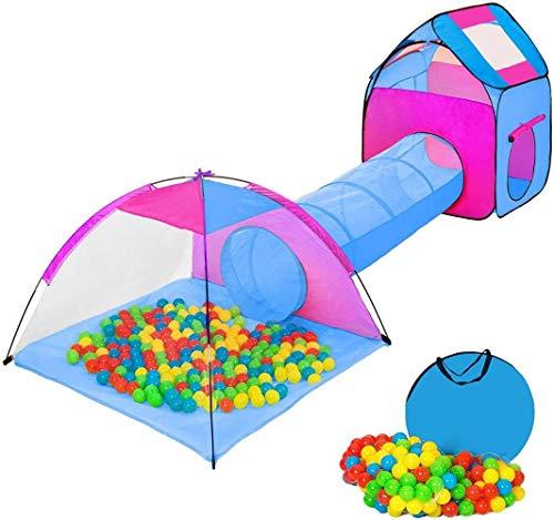 Iglu-Zelt Kinder mit Tunnel + 200 Kugeln + Bag - Spielzelt - in verschiedenen Farben Auswahl (Multicolor 1   Nr 401027) Farbe: Multicolor 2   (Color : Multicolore 2   No. 401233)