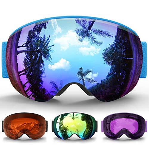 eDriveTech Skibrille Kinder, Ski Snowboard Brille Brillenträger Schneebrille Snowboardbrille Verspiegelt für Jungen Mädchen Junior Alter 3 4 5 6 7 8 9 10 11 12 13 14 15 Jahre OTG UV Schutz Anti Fog