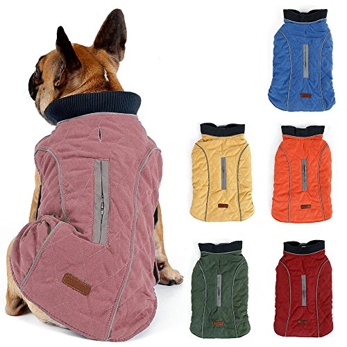TFENG Reflektierend Hundejacke für Hunde, Hundemantel Warm gepolstert Puffer Weste Welpen Regenmantel mit Fleece (Rosa, Größe S)