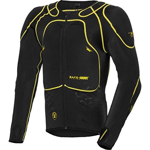 Safe Max Protektorenjacke Motorrad Protektorenhemd Unterziehjacke mit Protektoren, Level 2, extrem funktional, Schulter-, Ellbogen- und Rückenprotektor, luftig, atmungsaktiv, Schwarz, S