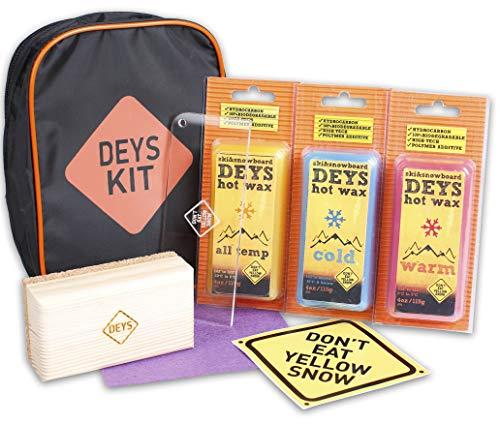 Don't Eat Yellow Snow Deys Universal Wax Tune Kit für Snowboard/Ski Wachs (4 STK: alle Temperaturen, kalt, warm, Graphit), Plexi-Schaber, Korkstange und mehr. Gift Ready Kombipackung