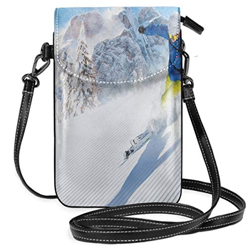 Women Small Cell Phone Purse Crossbody,Skier Skiing Downhill In High Mountains Extreme Winter Sports Hobbies Activity