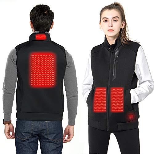 DEKINMAX Beheizte Weste für Herren Damen, Elektrische Beheizte Jacke USB Lade Heizweste, Warme Heat Jacke mit 3 Fakultativ Temperatur für Outdoor Wandern Jagd Motorrad Camping