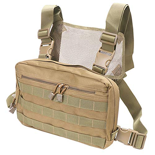 Kyrio Tactical Chest Rig Molle Radio Brustgurthalter Holster Weste für Zwei-Wege-Radio Walkie Talkies (Khaki)