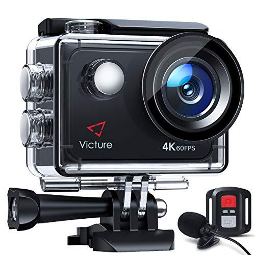 Victure Touchscreen-Actionkamera 4K 60FPS mit 8-fachem Zoom, Doppelmikrofon, Fernbedienung, verbessertem EIS, 40-m-Unterwasserkamera, PC-Webcam mit 2 x 1350 mAh Akkus und Zubehör