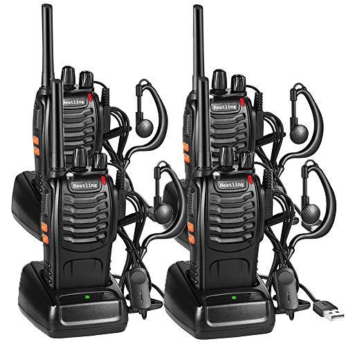 Nestling Funkgeräte Set,Walkie Talkie 16 Kanäle in beiden Richtungen,Handfunkgerät Eingebauter LED Taschenlampe mit USB Anschluß und Headset (4er Set)