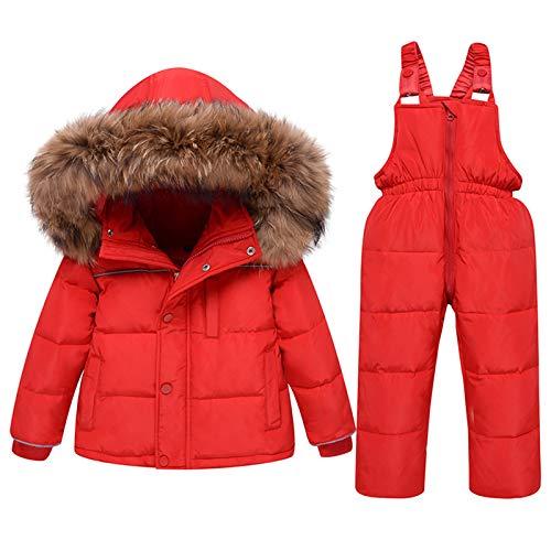 amropi Skianzug Mädchen Kinder Schneeanzug Daunenjacke mit Kaputze + Skihose 2tlg Bekleidungsset Winteranzug Rot,4-5 Jahre
