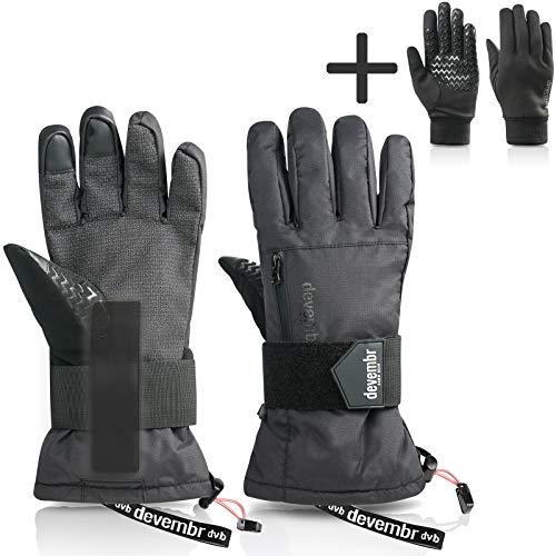 devembr Fortschrittliche Snowboard-Handschuhe für Vielnutzer, Super Haltbare Skihandschuhe mit Abnehmbarem Futter & Handgelenkschutz, Premium Kevlar-Material, Wasserdicht, 3M ThinsulateIsoliert, L