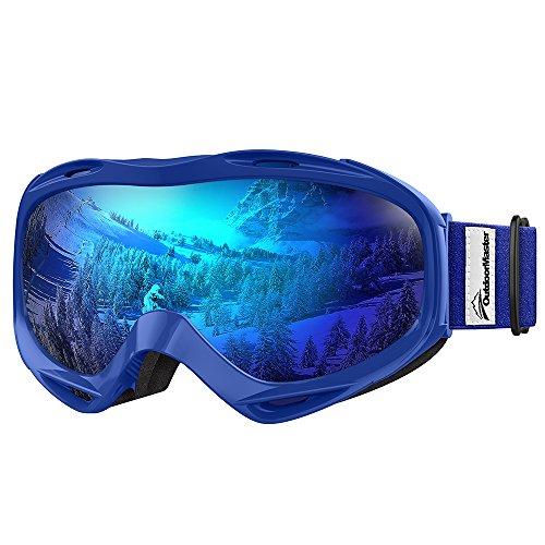 OutdoorMaster Premium Skibrille, Snowboardbrille Schneebrille OTG 100% UV-Schutz, helmkompatible Ski Goggles für Damen&Herren/Jungen&Mädchen(VLT 15,2% graue Gläser mit vollem REVO Blau)