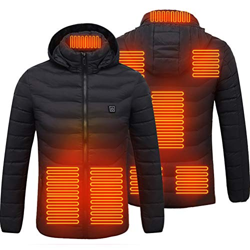 Beheizte Jacken, Herren Elektrische Heizjacke Wasserdicht Winddicht beheizbare Jacke für Outdoorarbeiten und Tägliches Tragen - L