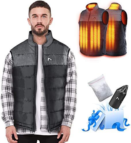 Beheizte Weste Damen/Herren, Leichte Outdoor Heizweste, Duale Temperaturkontrolle Zwei Heizzonen Beheizbare Jacke Heizjacke mit Beheizter Kragen(Batterie Nicht inbegriffen/Ausgang 5V / 2A oder höher)