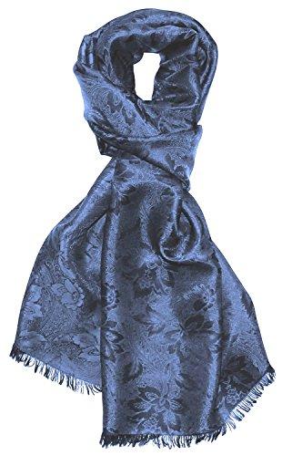Lorenzo Cana Herren Schal Luxustuch elegant gewebt in Damastwebung florales Paisleymuster aus Viskose mit Seide blau 55 cm x 190 cm - 8915911