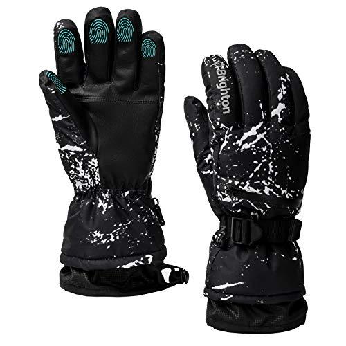 O'Brighton Winter Skihandschuhe, Warme Handschuhe Wasserdichter Touchscreen Handschuhe rutschfeste MTB-Handschuhe Winddichte Handschuhe zum Herren Damen Laufen, Fahren, Radfahren, Wandern Schwarz, L