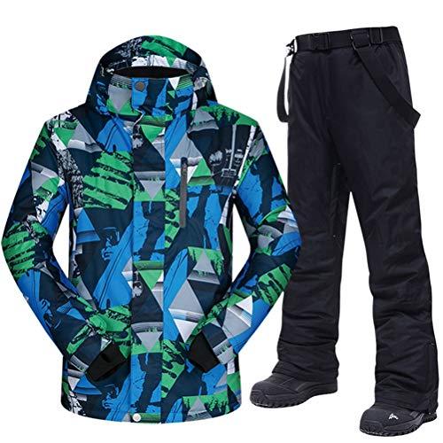 Hbao Herren Skianzug Winter warm, Winddicht und wasserdicht Outdoor-Sport Schneeschuh Hosen heiße Skiausrüstung Snowboardjacke Männer (Color : Black, Size : XXX-Large)