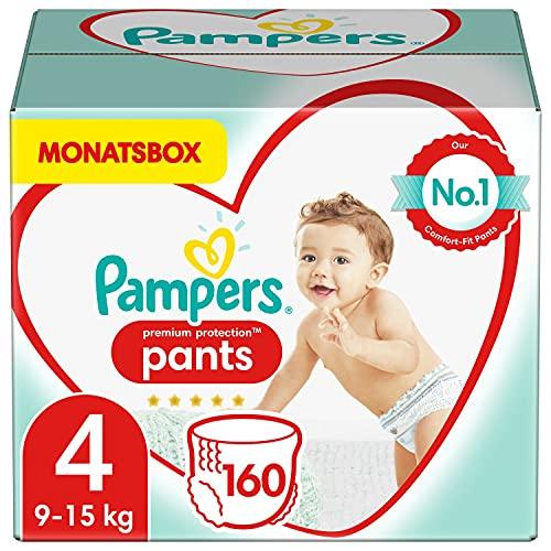 Pampers Baby Windeln Pants Größe 4 (9-15kg) Premium Protection, 160 Höschenwindeln, MONATSBOX, Weichster Komfort Und Einfaches Anziehen