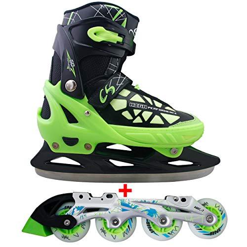 Cox Swain 2 in 1 Kinder Skates-/Schlittschuh -Blake- LED Leuchtrollen, ABEC 7 Carbon Lager, Colour: Black Green, Size: XS (29-32)