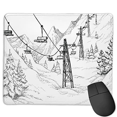 Zollamt Mauspad,Mountain Ski Lift Sketch,Quadratisches Gaming-Mauspad, rutschfeste Gummibasis für Heim-Laptop, Reisen, personalisierter Schreibtisch, 9,5 'x 7,9'