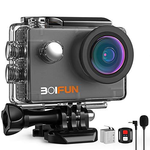 BOIFUN 4K 20MP Action Cam EIS Bildstabilisierte Wi-Fi mit Externem Mikrofon Unterwasserkamera Sport Helmkamera Wasserdicht bis 40 Meter Fernsteuerung und 20 Weiteren Zubehörteilen (4K)