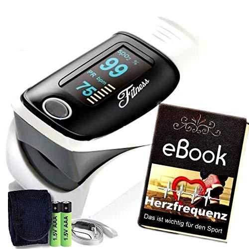 Fitness Prince Heartbeat O2 Professioneller Finger Oximeter Alarmfunktion & drehbarem OLED Display, Herz Puls genauen Messung Sauerstoff-Sättigung (SpO2) der Herzfrequenz inkl Batterien & Tasche