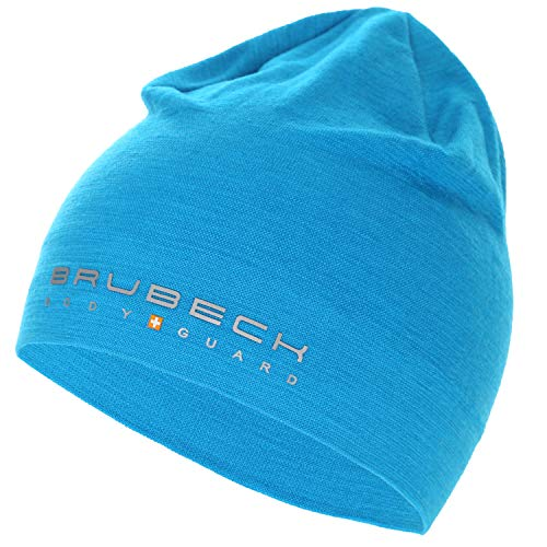 BRUBECK Mütze Sport Damen & Herren | Funktionsmütze Merino temperaturregulierend | Blaue Wandermütze nahtlos | Mens Cap Blue Hiking | 48% Merinowolle | blau | Gr. L - XL | HM10180