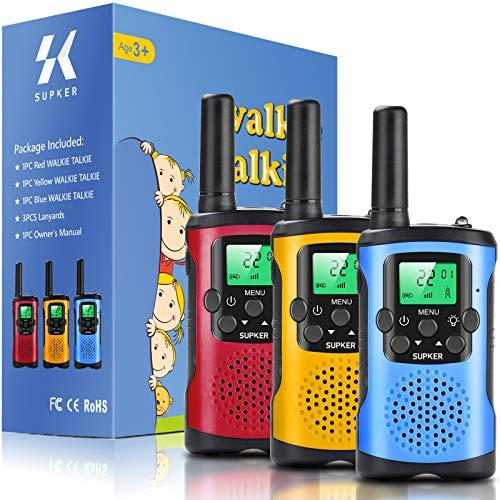 Walkie Talkies für Kinder 3er Pack, 8 Kanäle 2 Wege Radio Kinder Spricht Spielzeug für 3 bis 12 Jungen Mädchen Geschenk, 3 KM Lange Reichweite für Outdoor Camping Spiel