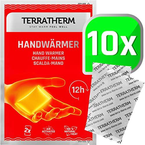 TerraTherm Handwärmer, Fingerwärmer für 12h warme Hände, Wärmepads Hand durch Luft aktiviert, 100% natürliche Wärme, Taschenwärmer, 10 Paar