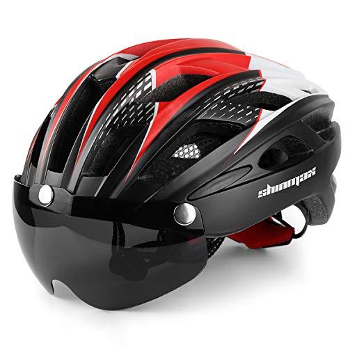 Shinmax Fahrradhelm,CE-Zertifikat,Fahrradhelm mit Abnehmbarer Schutzbrille Visier Shield für Männer Frauen Mountain & Road Fahrradhelm Einstellbarer Sicherheitsschutz Skateboarding Ski & Snowboard