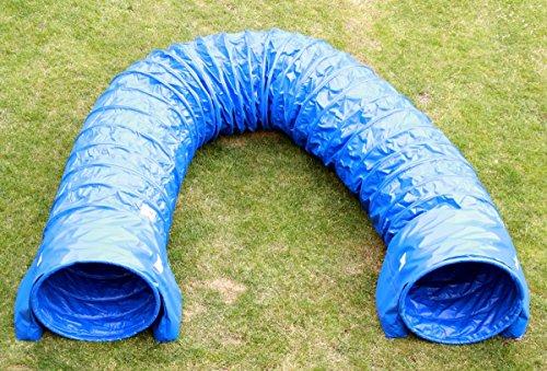 Callieway Dog Agility Tunnel Profi Hunde Tunnel Agility Gerät (Stützsandsäcke bereits inklusive) (6m, blau)