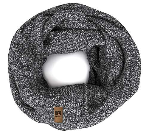 HEYO Rundschal H16025   Winter Loop Schal für Herren   weiches gestricktes Schlauchschal   warmes Strickschal (Hellgrau)